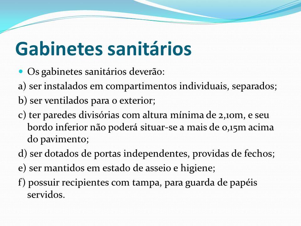 Gabinetes sanitários Os gabinetes sanitários deverão: a) ser instalados em compartimentos individuais, separados; b) ser ventilados para o exterior; c