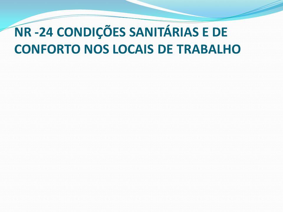 NR -24 CONDIÇÕES SANITÁRIAS E DE CONFORTO NOS LOCAIS DE TRABALHO