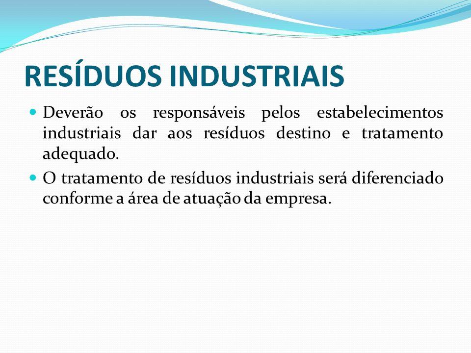 RESÍDUOS INDUSTRIAIS Deverão os responsáveis pelos estabelecimentos industriais dar aos resíduos destino e tratamento adequado. O tratamento de resídu