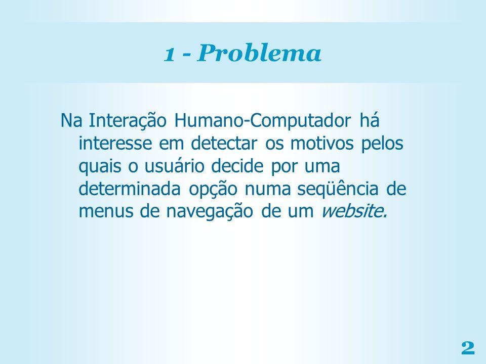 2 1 - Problema Na Interação Humano-Computador há interesse em detectar os motivos pelos quais o usuário decide por uma determinada opção numa seqüênci