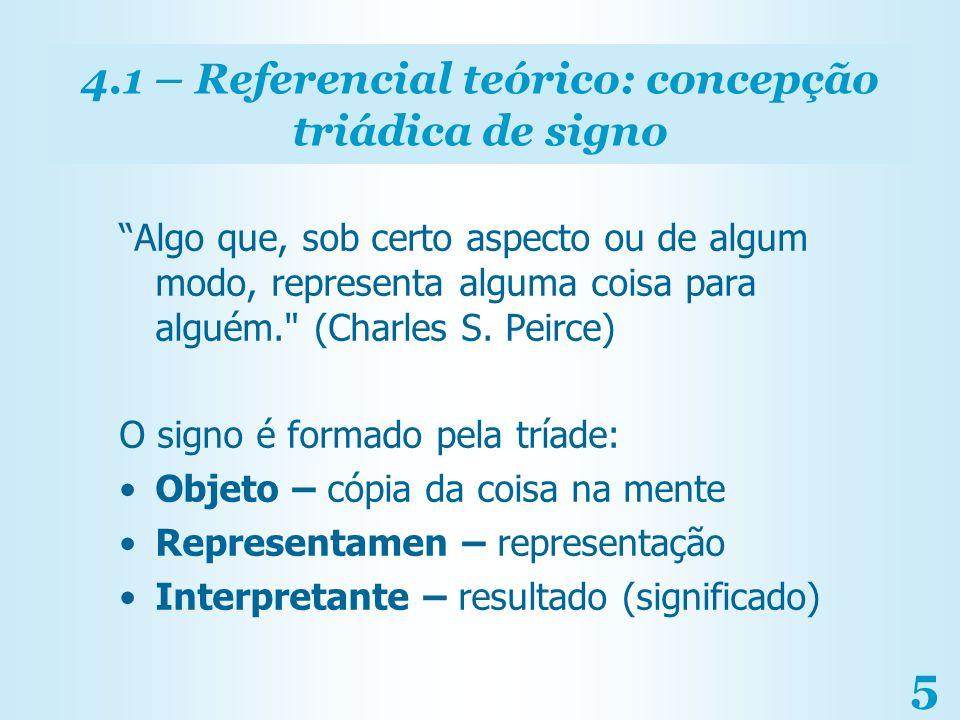 5 4.1 – Referencial teórico: concepção triádica de signo Algo que, sob certo aspecto ou de algum modo, representa alguma coisa para alguém.