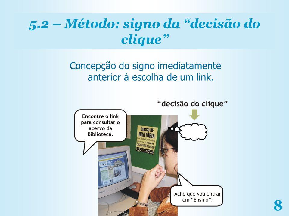 8 5.2 – Método: signo da decisão do clique Concepção do signo imediatamente anterior à escolha de um link.