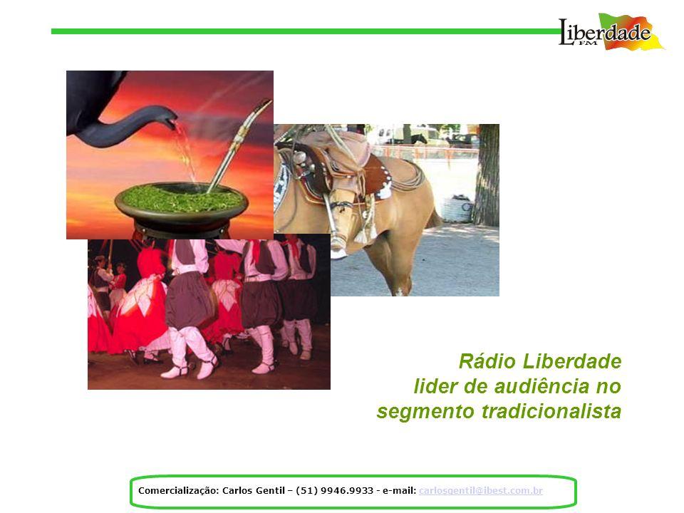 Rádio Liberdade lider de audiência no segmento tradicionalista Comercialização: Carlos Gentil – (51) 9946.9933 - e-mail: carlosgentil@ibest.com.brcarlosgentil@ibest.com.br