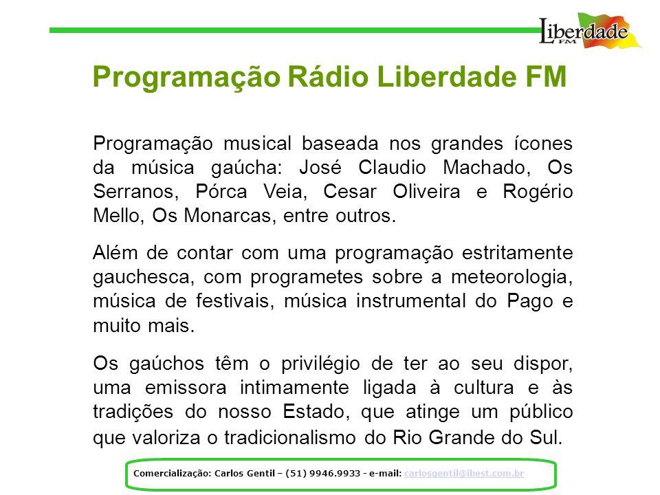 Programação Rádio Liberdade FM Programação musical baseada nos grandes ícones da música gaúcha: José Claudio Machado, Os Serranos, Pórca Veia, Cesar Oliveira e Rogério Mello, Os Monarcas, entre outros.