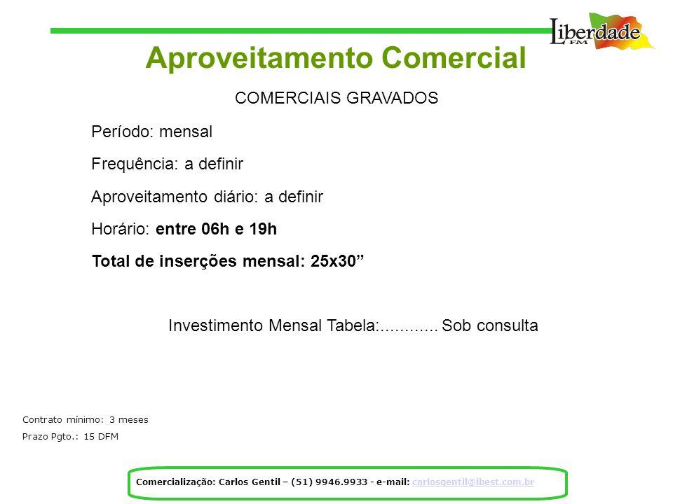 Aproveitamento Comercial COMERCIAIS GRAVADOS Período: mensal Frequência: a definir Aproveitamento diário: a definir Horário: entre 06h e 19h Total de inserções mensal: 25x30 Investimento Mensal Tabela:............