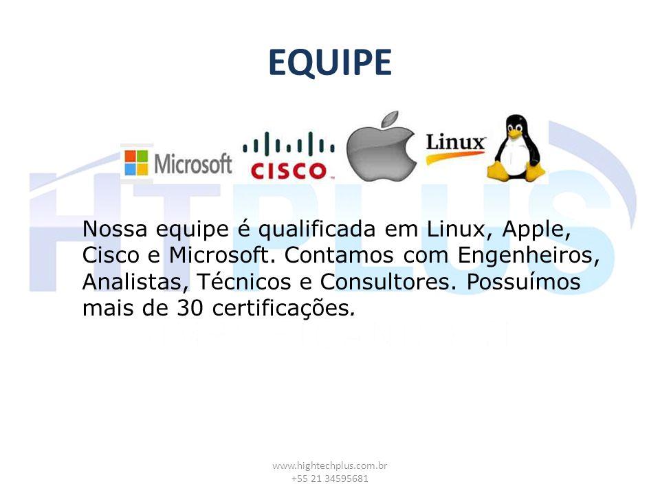 EQUIPE www.hightechplus.com.br +55 21 34595681 Nossa equipe é qualificada em Linux, Apple, Cisco e Microsoft. Contamos com Engenheiros, Analistas, Téc
