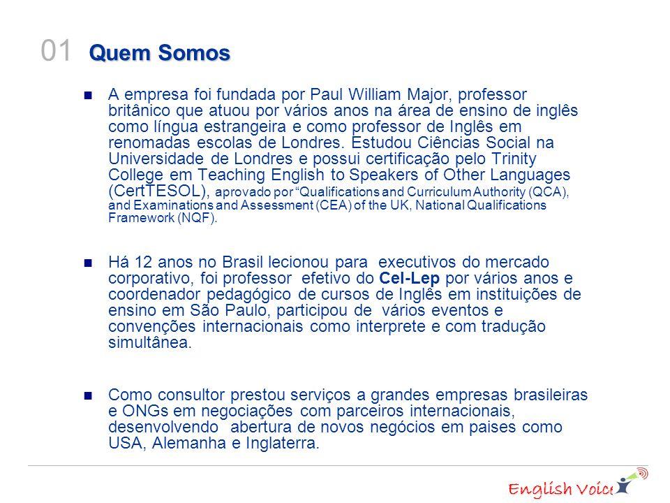 English Voice A empresa foi fundada por Paul William Major, professor britânico que atuou por vários anos na área de ensino de inglês como língua estrangeira e como professor de Inglês em renomadas escolas de Londres.