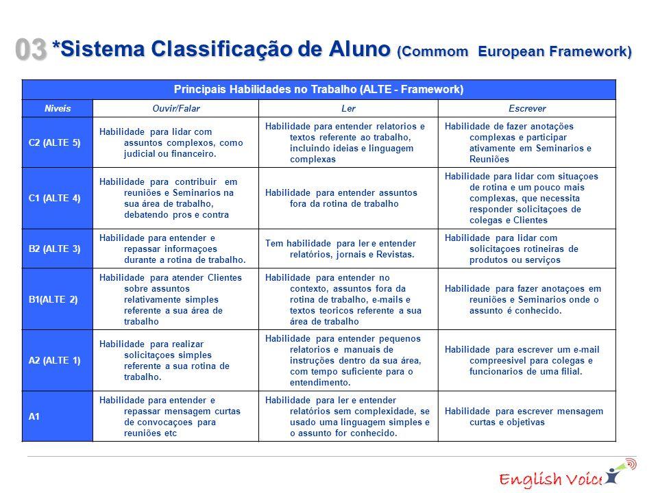 English Voice *Sistema Classificação de Aluno (Commom European Framework) 03 Principais Habilidades no Trabalho (ALTE - Framework) Niveís Ouvir/FalarLerEscrever C2 (ALTE 5) Habilidade para lidar com assuntos complexos, como judicial ou financeiro.