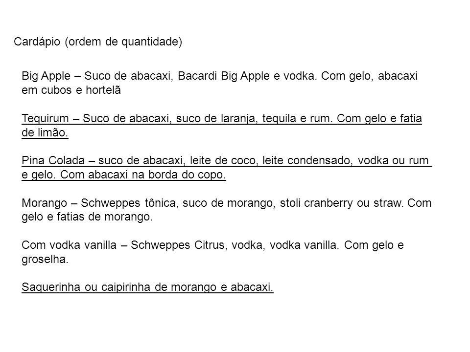 Cardápio (ordem de quantidade) Big Apple – Suco de abacaxi, Bacardi Big Apple e vodka.