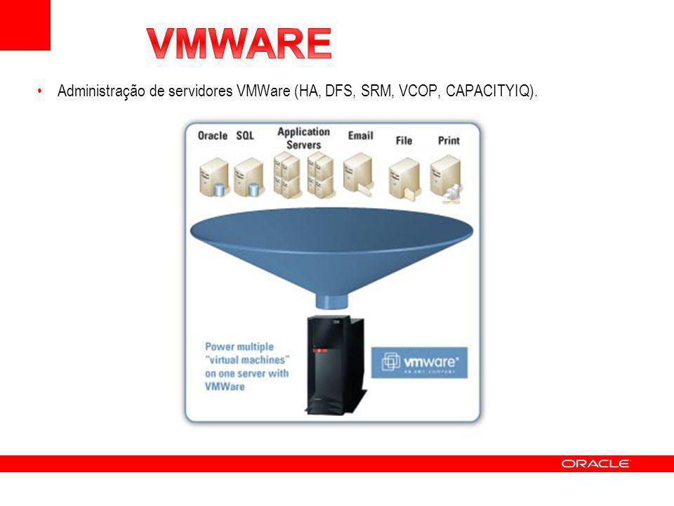 Administração de servidores VMWare (HA, DFS, SRM, VCOP, CAPACITYIQ).