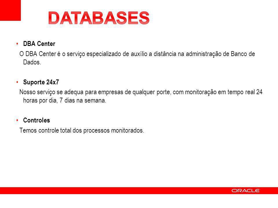 DBA Center O DBA Center é o serviço especializado de auxílio a distância na administração de Banco de Dados. Suporte 24x7 Nosso serviço se adequa para