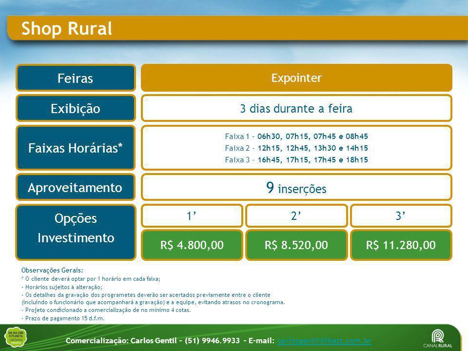 Faixa 1 – 06h30, 07h15, 07h45 e 08h45 Faixa 2 - 12h15, 12h45, 13h30 e 14h15 Faixa 3 - 16h45, 17h15, 17h45 e 18h15 Shop Rural Aproveitamento Faixas Hor