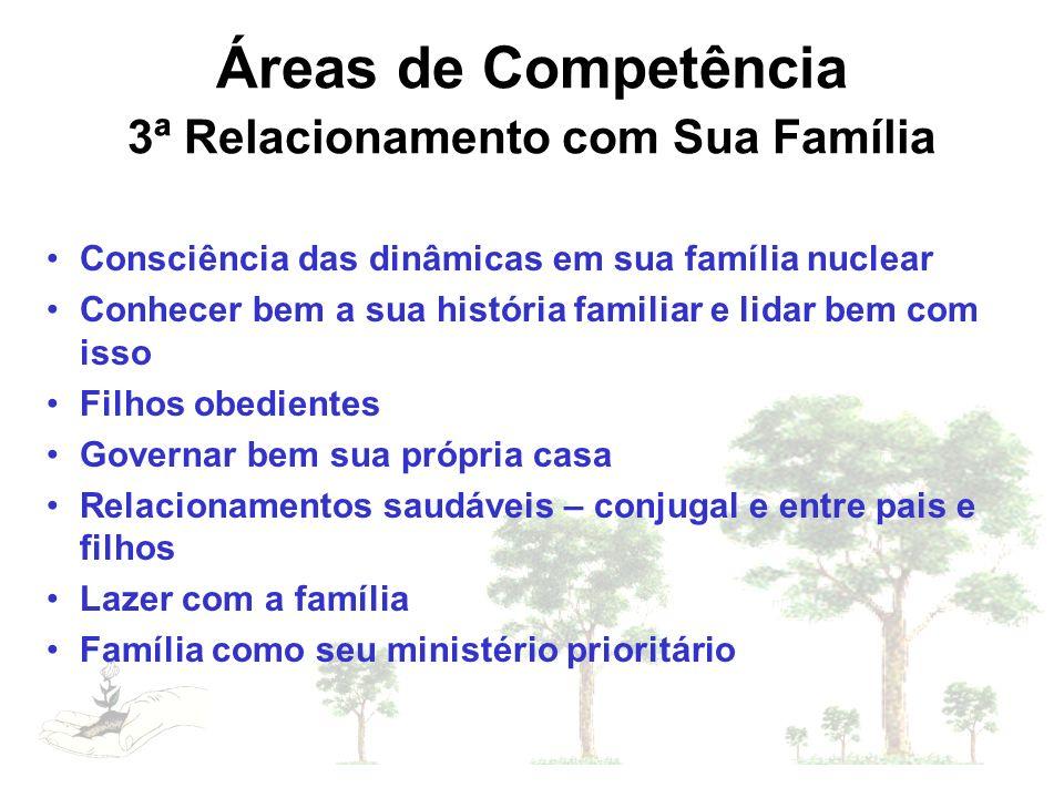 Áreas de Competência 3ª Relacionamento com Sua Família Consciência das dinâmicas em sua família nuclear Conhecer bem a sua história familiar e lidar b