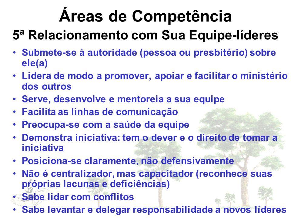 Áreas de Competência 5ª Relacionamento com Sua Equipe-líderes Submete-se à autoridade (pessoa ou presbitério) sobre ele(a) Lidera de modo a promover,