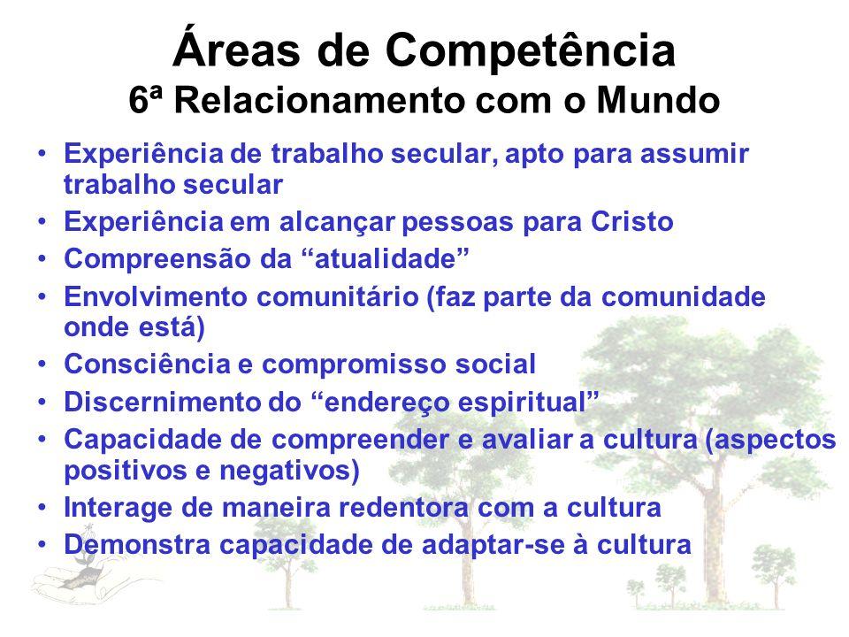 Áreas de Competência 6ª Relacionamento com o Mundo Experiência de trabalho secular, apto para assumir trabalho secular Experiência em alcançar pessoas