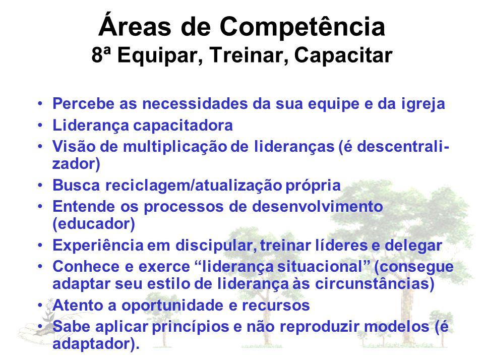 Áreas de Competência 8ª Equipar, Treinar, Capacitar Percebe as necessidades da sua equipe e da igreja Liderança capacitadora Visão de multiplicação de