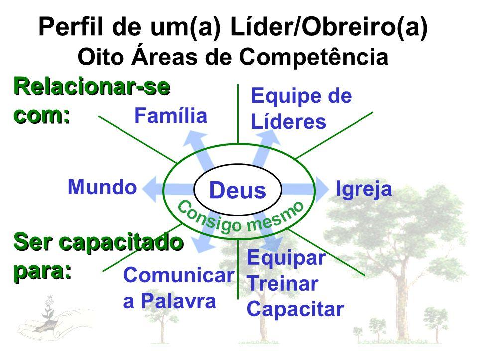 Perfil de um(a) Líder/Obreiro(a) Oito Áreas de Competência Relacionar-se com: Família Igreja Equipe de Líderes Mundo Comunicar a Palavra Equipar Trein