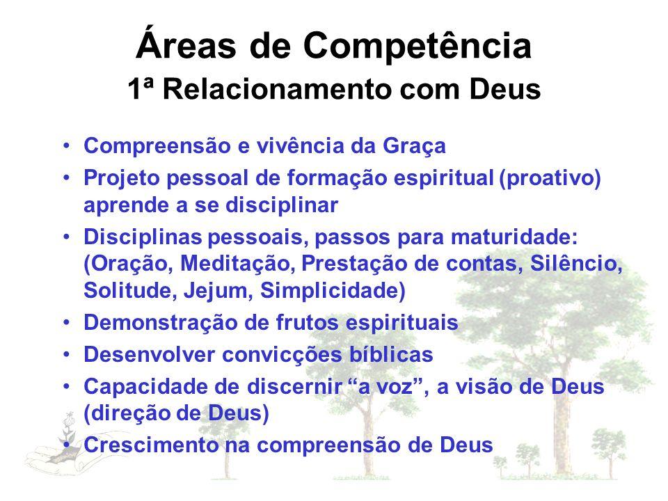 Áreas de Competência 1ª Relacionamento com Deus Compreensão e vivência da Graça Projeto pessoal de formação espiritual (proativo) aprende a se discipl