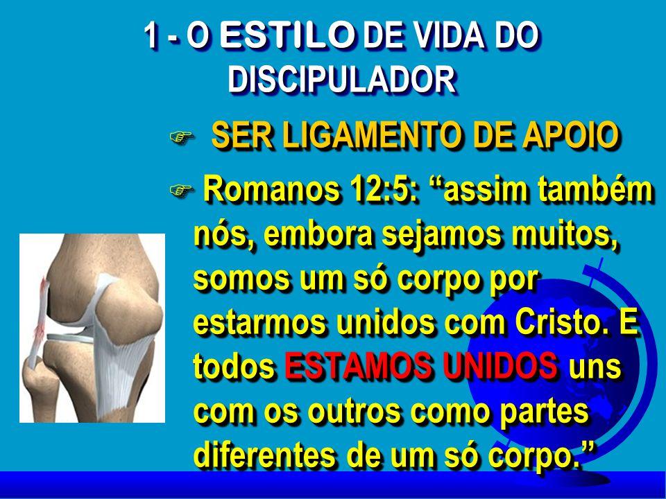 1 - O ESTILO DE VIDA DO DISCIPULADOR F SER LIGAMENTO DE APOIO F Romanos 12:5: assim também nós, embora sejamos muitos, somos um só corpo por estarmos