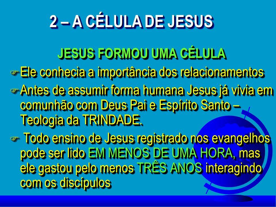 JESUS FORMOU UMA CÉLULA F Ele conhecia a importância dos relacionamentos F Antes de assumir forma humana Jesus já vivia em comunhão com Deus Pai e Esp