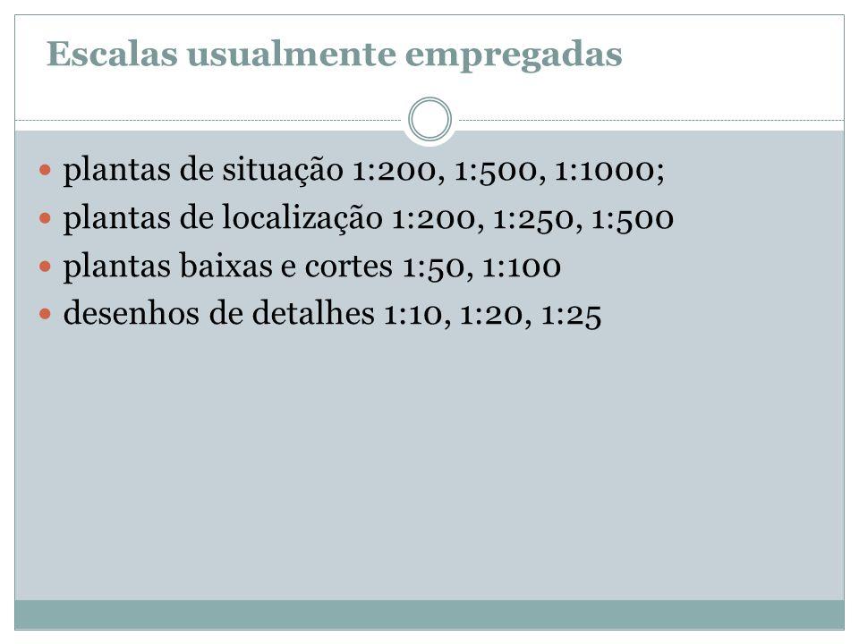 Escalas usualmente empregadas plantas de situação 1:200, 1:500, 1:1000; plantas de localização 1:200, 1:250, 1:500 plantas baixas e cortes 1:50, 1:100