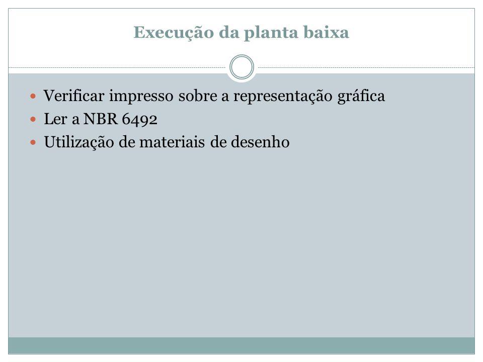 Execução da planta baixa Verificar impresso sobre a representação gráfica Ler a NBR 6492 Utilização de materiais de desenho