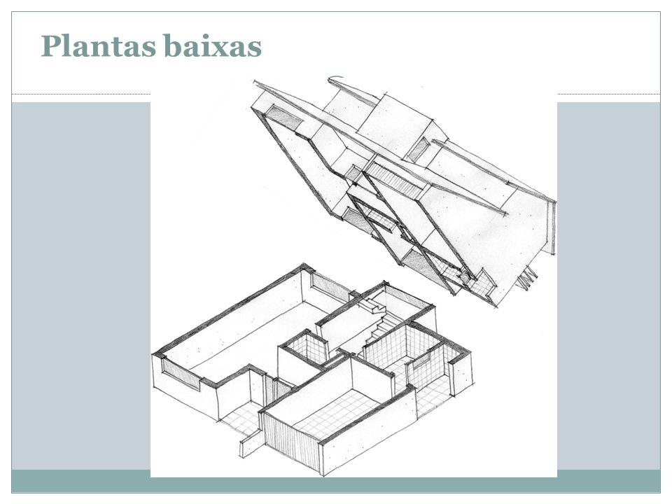 Plano horizontal de corte, junto ao plano do piso, o qual se direciona acerca de 1.20m de altura (entre verga da porta e peitoril da janela) Representa-se o que um observador posicionado a uma distância infinita veria ao olhar do alto a edificação cortada