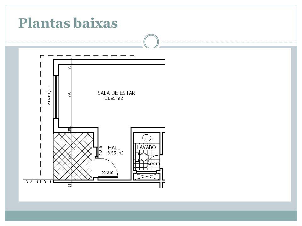 Construção planta - Demarcar as paredes - Representar as esquadrias - Representar louças sanitárias - Representar os pisos frios - Representar a projeção dos beirais - Representar os textos e a cotas