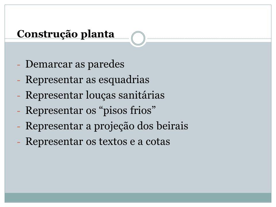 Construção planta - Demarcar as paredes - Representar as esquadrias - Representar louças sanitárias - Representar os pisos frios - Representar a proje