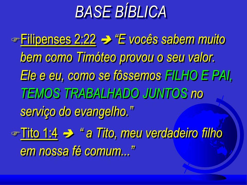 F 1 Timóteo 1:2 Escrevo a você, Timóteo, meu VERDADEIRO FILHO NA FÉ. Que a graça, a misericórdia e a paz de Deus, o Pai, e de Cristo Jesus, o nosso Se