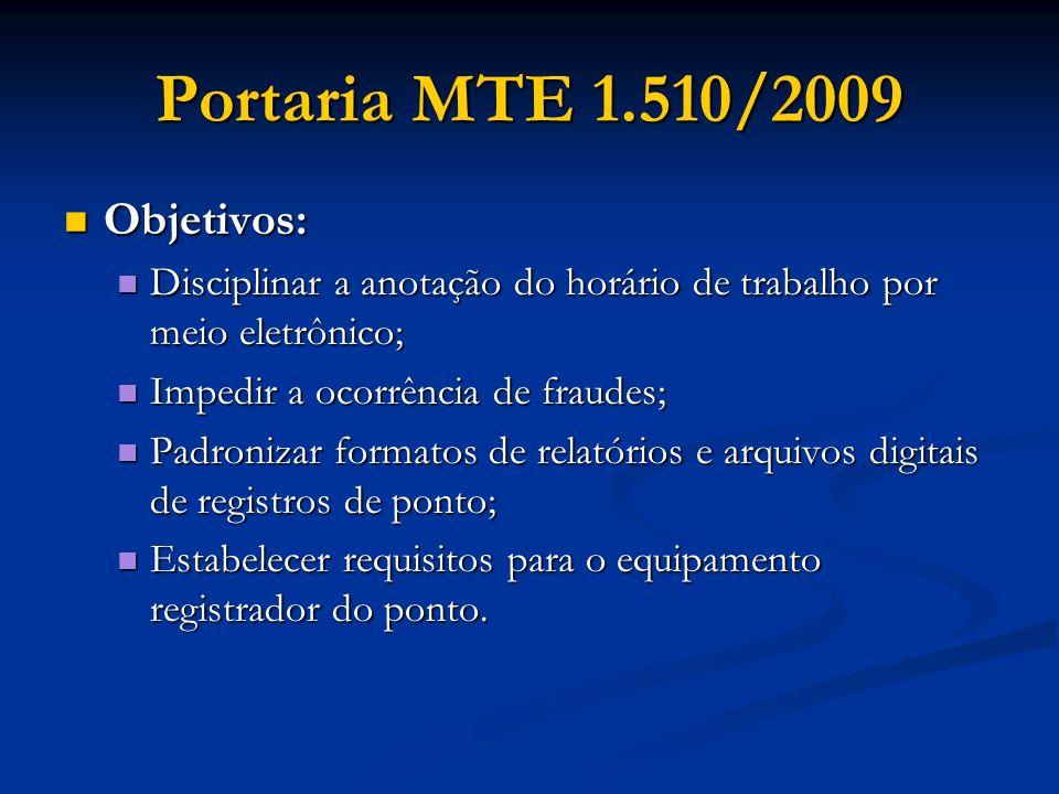 Portaria MTE 1.510/2009 Objetivos: Objetivos: Disciplinar a anotação do horário de trabalho por meio eletrônico; Disciplinar a anotação do horário de