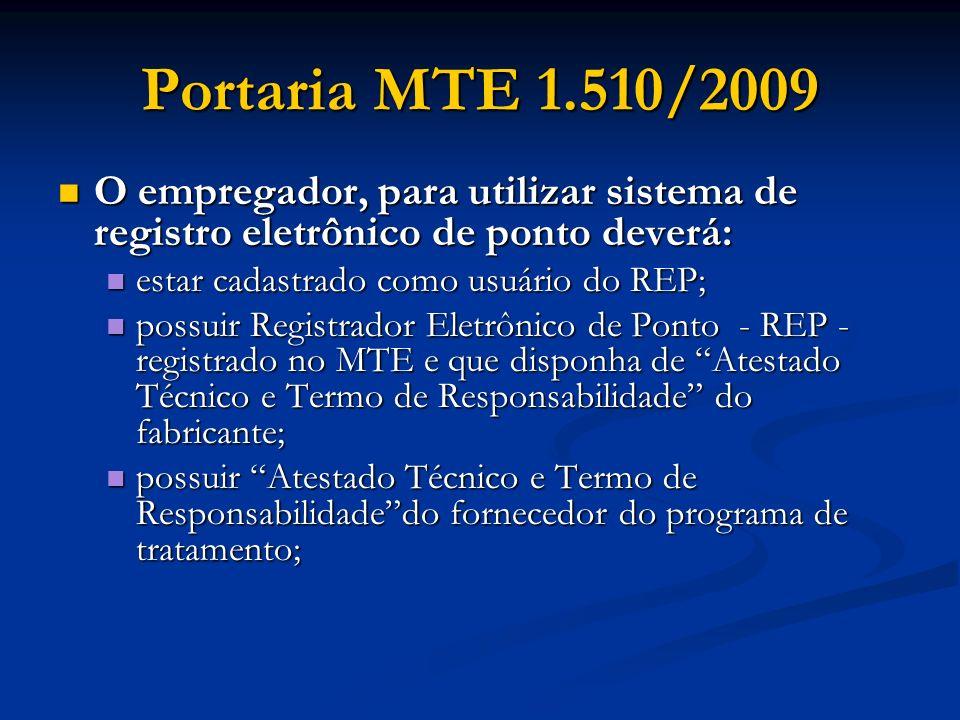 Portaria MTE 1.510/2009 O empregador, para utilizar sistema de registro eletrônico de ponto deverá: O empregador, para utilizar sistema de registro el