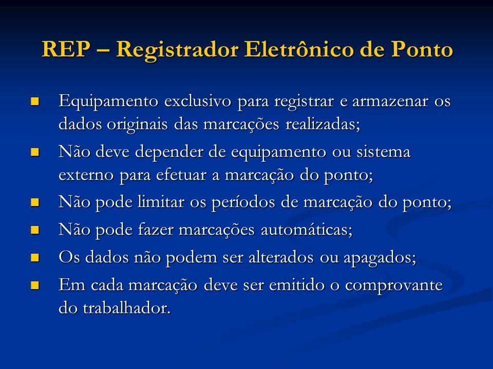 REP – Registrador Eletrônico de Ponto Equipamento exclusivo para registrar e armazenar os dados originais das marcações realizadas; Equipamento exclus