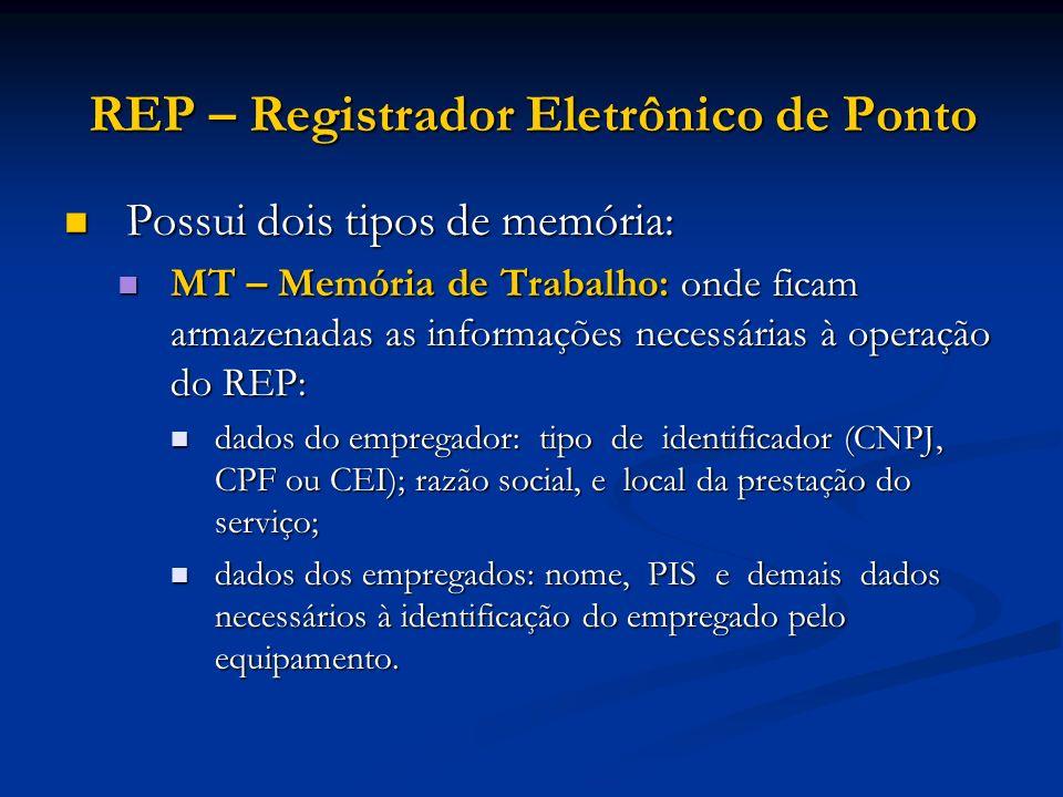 REP – Registrador Eletrônico de Ponto Possui dois tipos de memória: Possui dois tipos de memória: MT – Memória de Trabalho: onde ficam armazenadas as