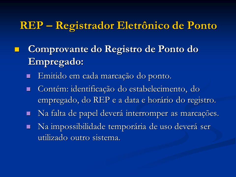 REP – Registrador Eletrônico de Ponto Comprovante do Registro de Ponto do Empregado: Comprovante do Registro de Ponto do Empregado: Emitido em cada ma