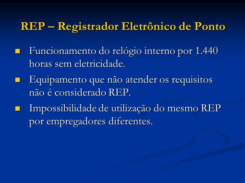 REP – Registrador Eletrônico de Ponto Funcionamento do relógio interno por 1.440 horas sem eletricidade. Funcionamento do relógio interno por 1.440 ho