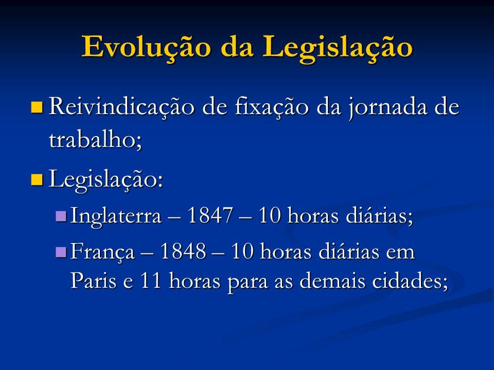 Evolução da Legislação Reivindicação de fixação da jornada de trabalho; Reivindicação de fixação da jornada de trabalho; Legislação: Legislação: Ingla