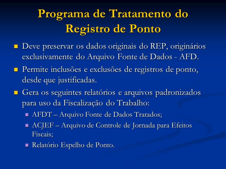 Programa de Tratamento do Registro de Ponto Deve preservar os dados originais do REP, originários exclusivamente do Arquivo Fonte de Dados - AFD. Deve