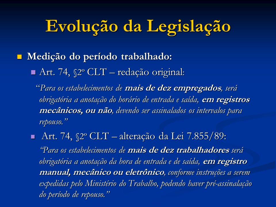 Medição do período trabalhado: Medição do período trabalhado: Art. 74, §2º CLT – redação original : Art. 74, §2º CLT – redação original : Para os esta