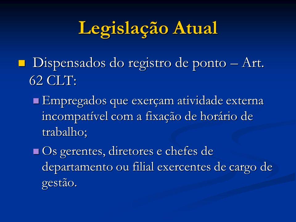Legislação Atual Dispensados do registro de ponto – Art. 62 CLT: Dispensados do registro de ponto – Art. 62 CLT: Empregados que exerçam atividade exte
