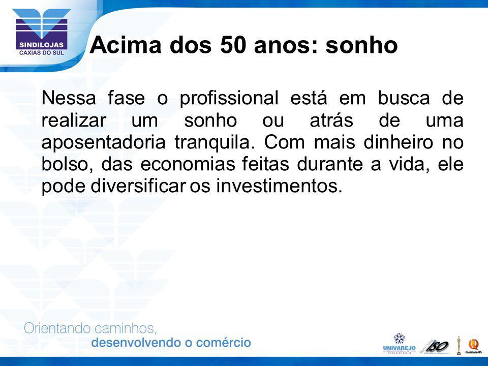 Acima dos 50 anos: sonho Nessa fase o profissional está em busca de realizar um sonho ou atrás de uma aposentadoria tranquila. Com mais dinheiro no bo