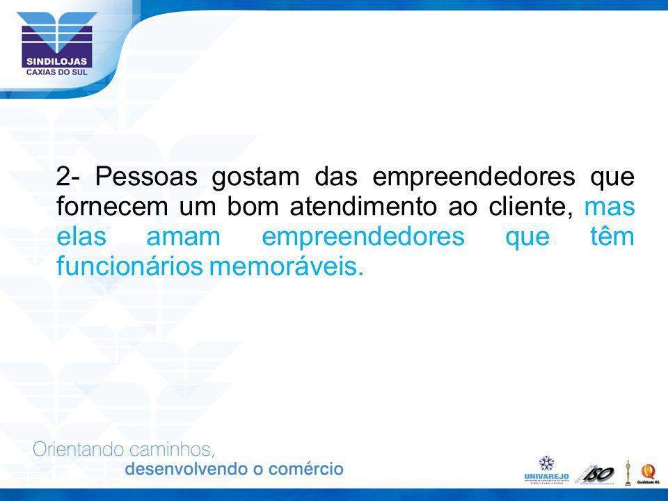 2- Pessoas gostam das empreendedores que fornecem um bom atendimento ao cliente, mas elas amam empreendedores que têm funcionários memoráveis.
