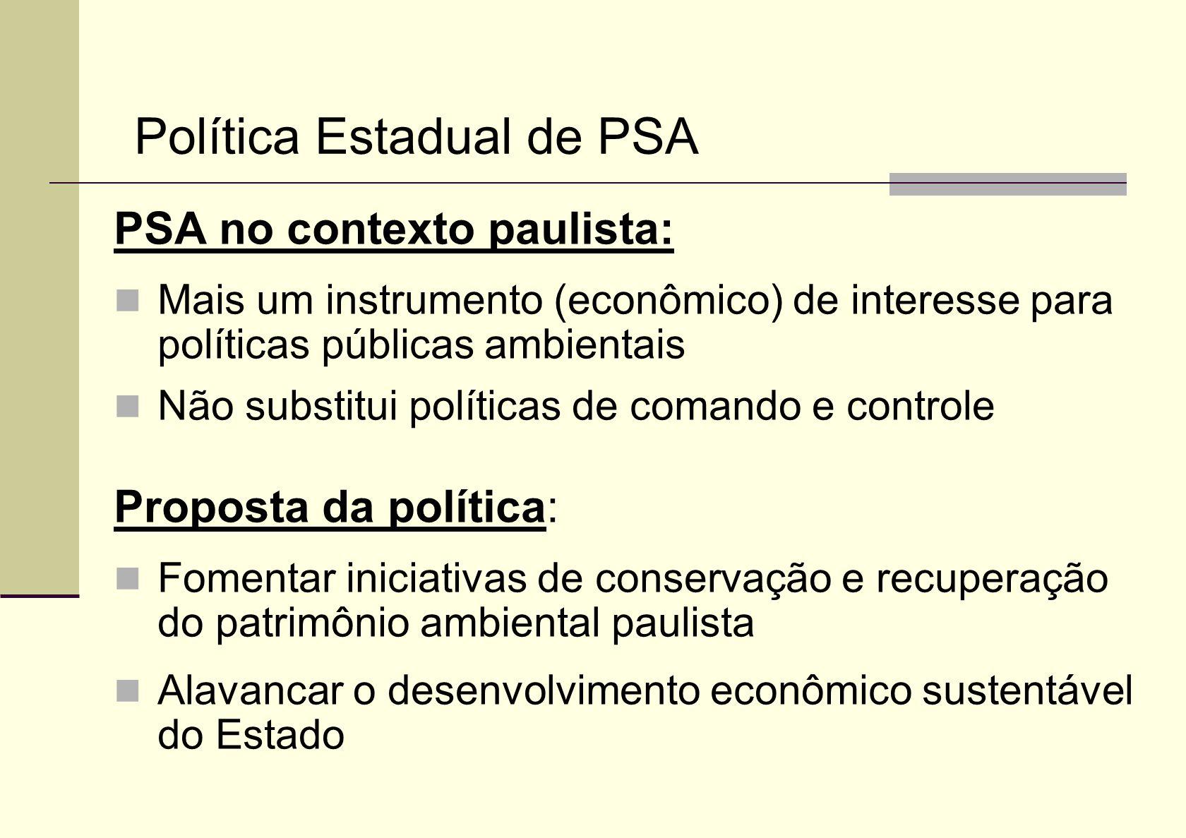 PSA no contexto paulista: Mais um instrumento (econômico) de interesse para políticas públicas ambientais Não substitui políticas de comando e control