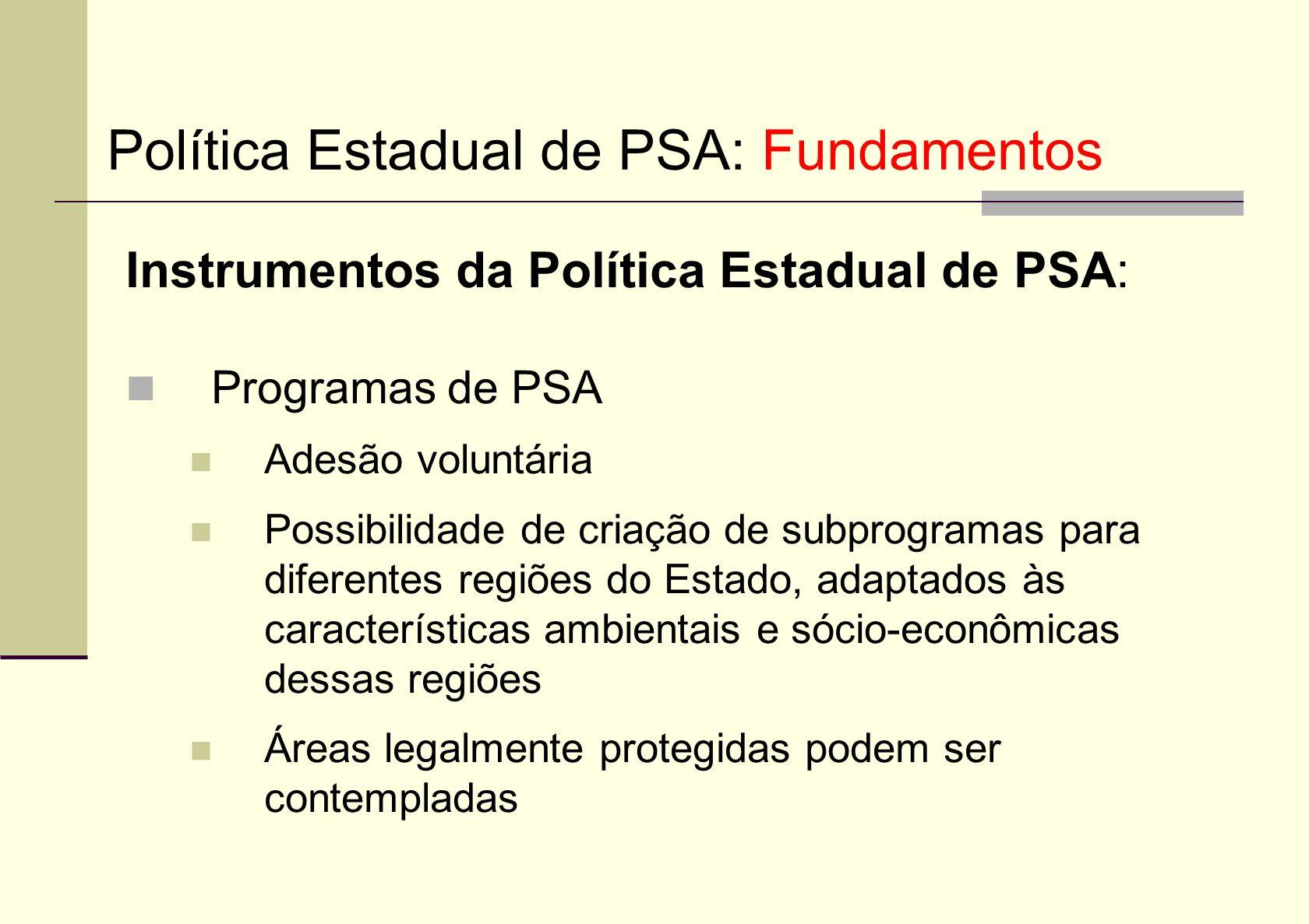 Instrumentos da Política Estadual de PSA: Programas de PSA Adesão voluntária Possibilidade de criação de subprogramas para diferentes regiões do Estad