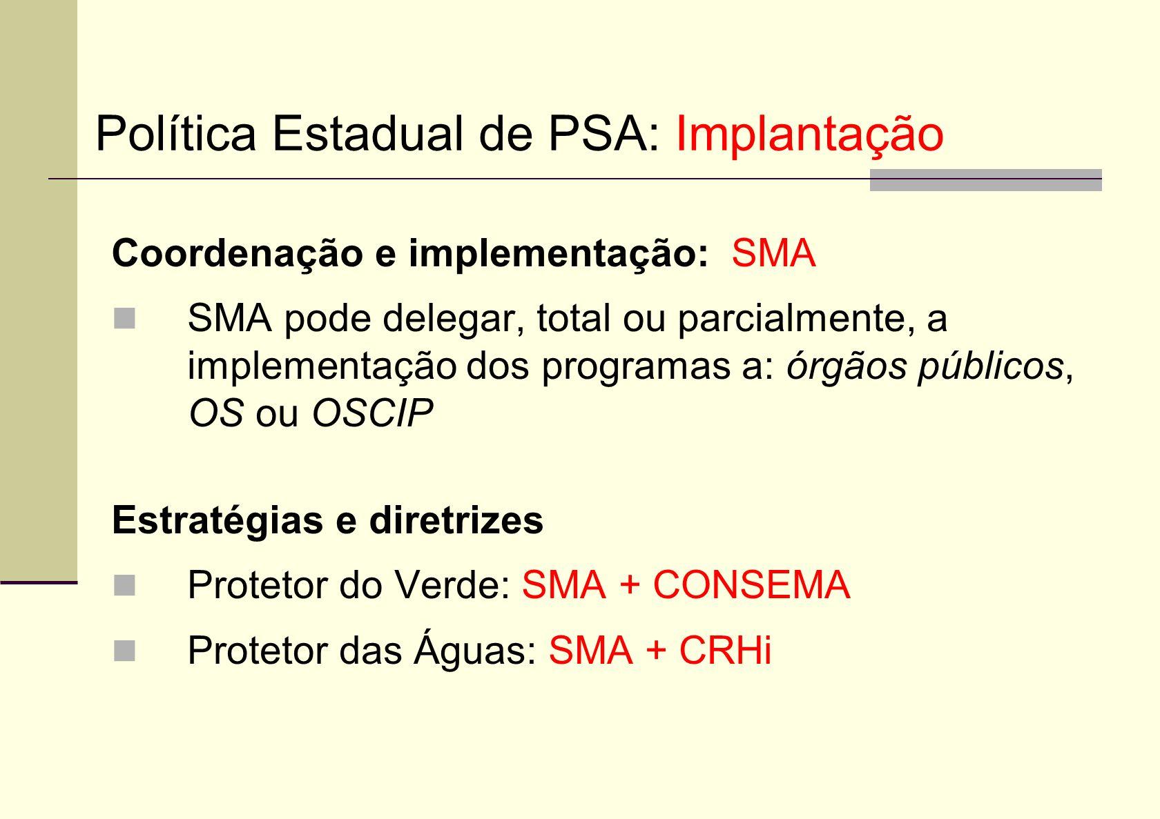 Coordenação e implementação: SMA SMA pode delegar, total ou parcialmente, a implementação dos programas a: órgãos públicos, OS ou OSCIP Estratégias e