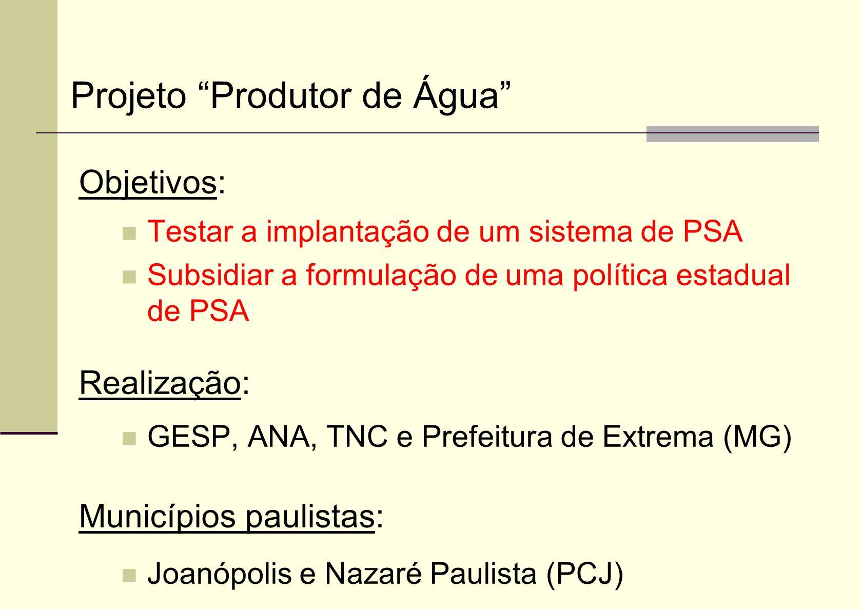 Objetivos: Testar a implantação de um sistema de PSA Subsidiar a formulação de uma política estadual de PSA Realização: GESP, ANA, TNC e Prefeitura de