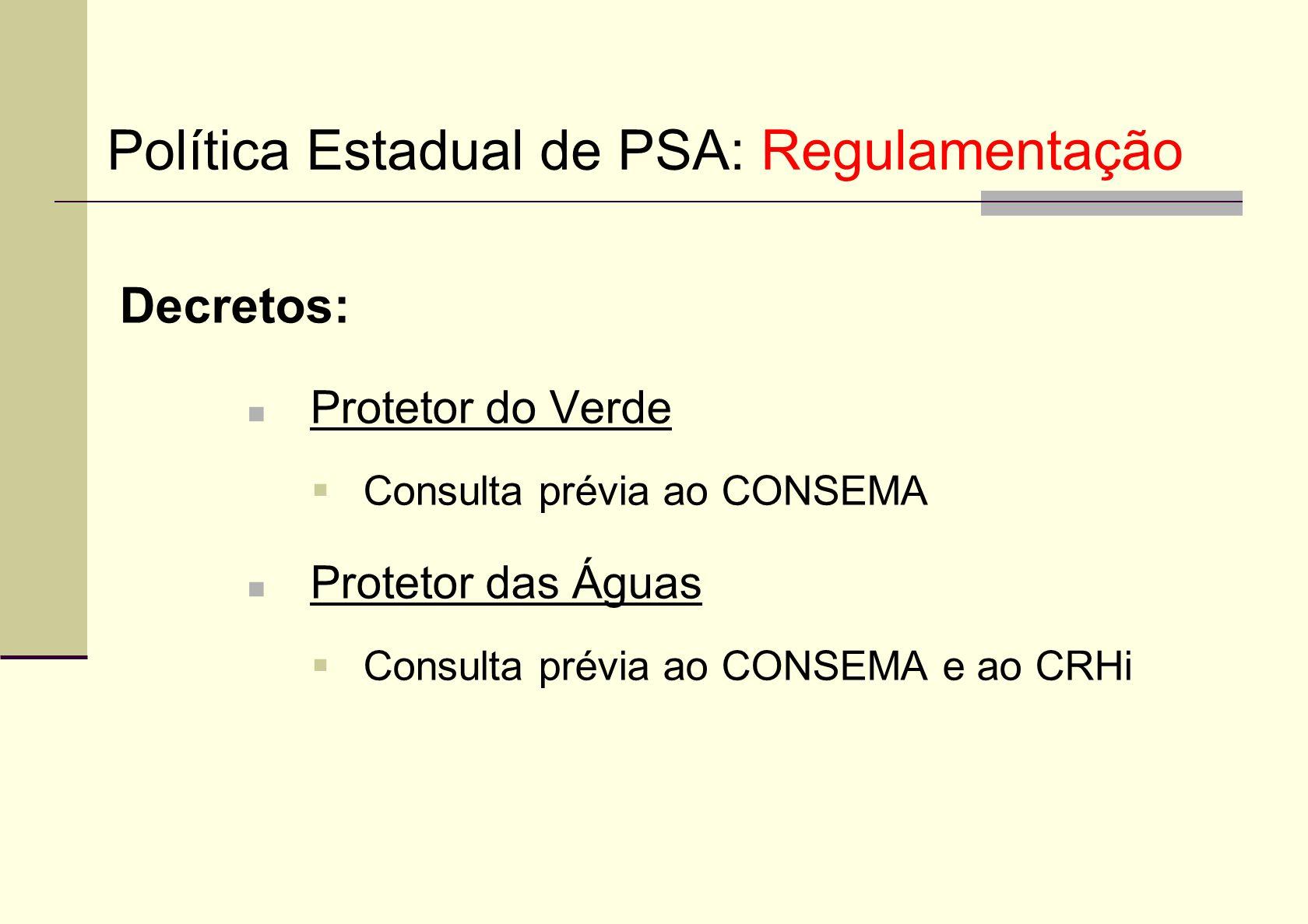 Decretos: Protetor do Verde Consulta prévia ao CONSEMA Protetor das Águas Consulta prévia ao CONSEMA e ao CRHi Política Estadual de PSA: Regulamentaçã