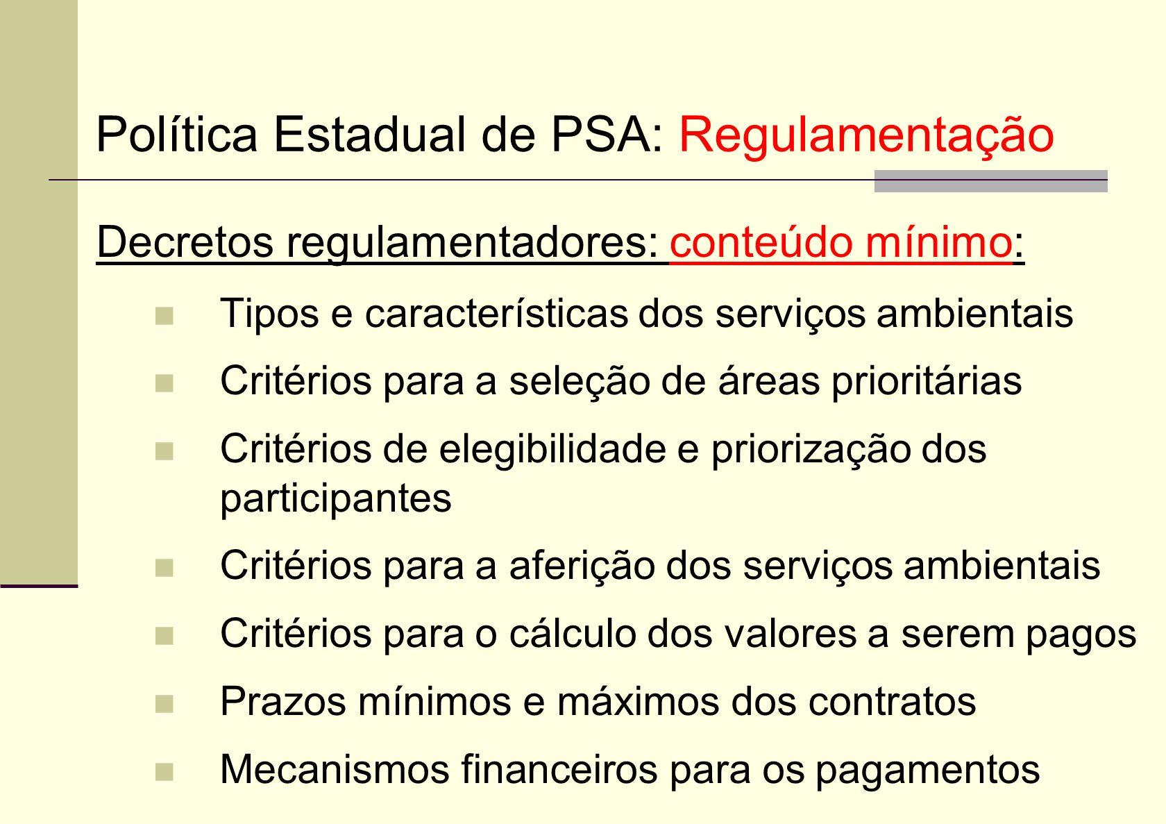 Decretos regulamentadores: conteúdo mínimo: Tipos e características dos serviços ambientais Critérios para a seleção de áreas prioritárias Critérios d