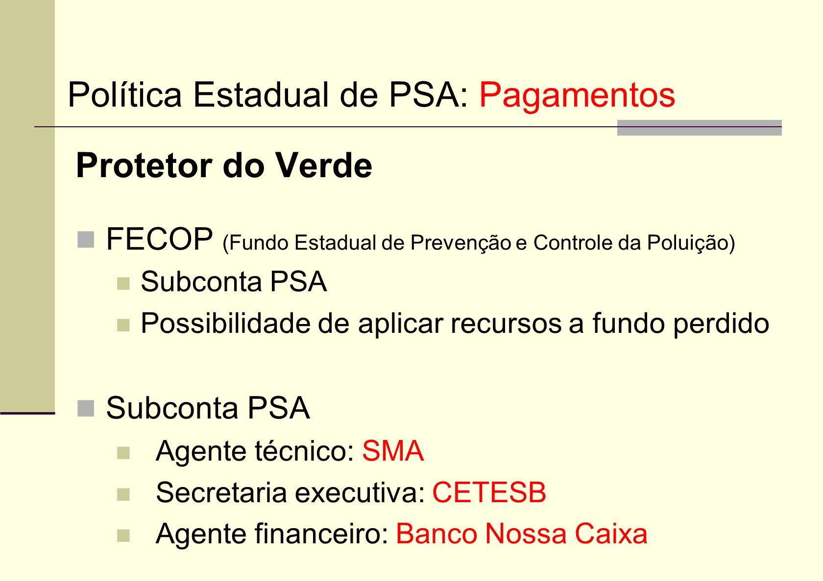 Protetor do Verde FECOP (Fundo Estadual de Prevenção e Controle da Poluição) Subconta PSA Possibilidade de aplicar recursos a fundo perdido Subconta P