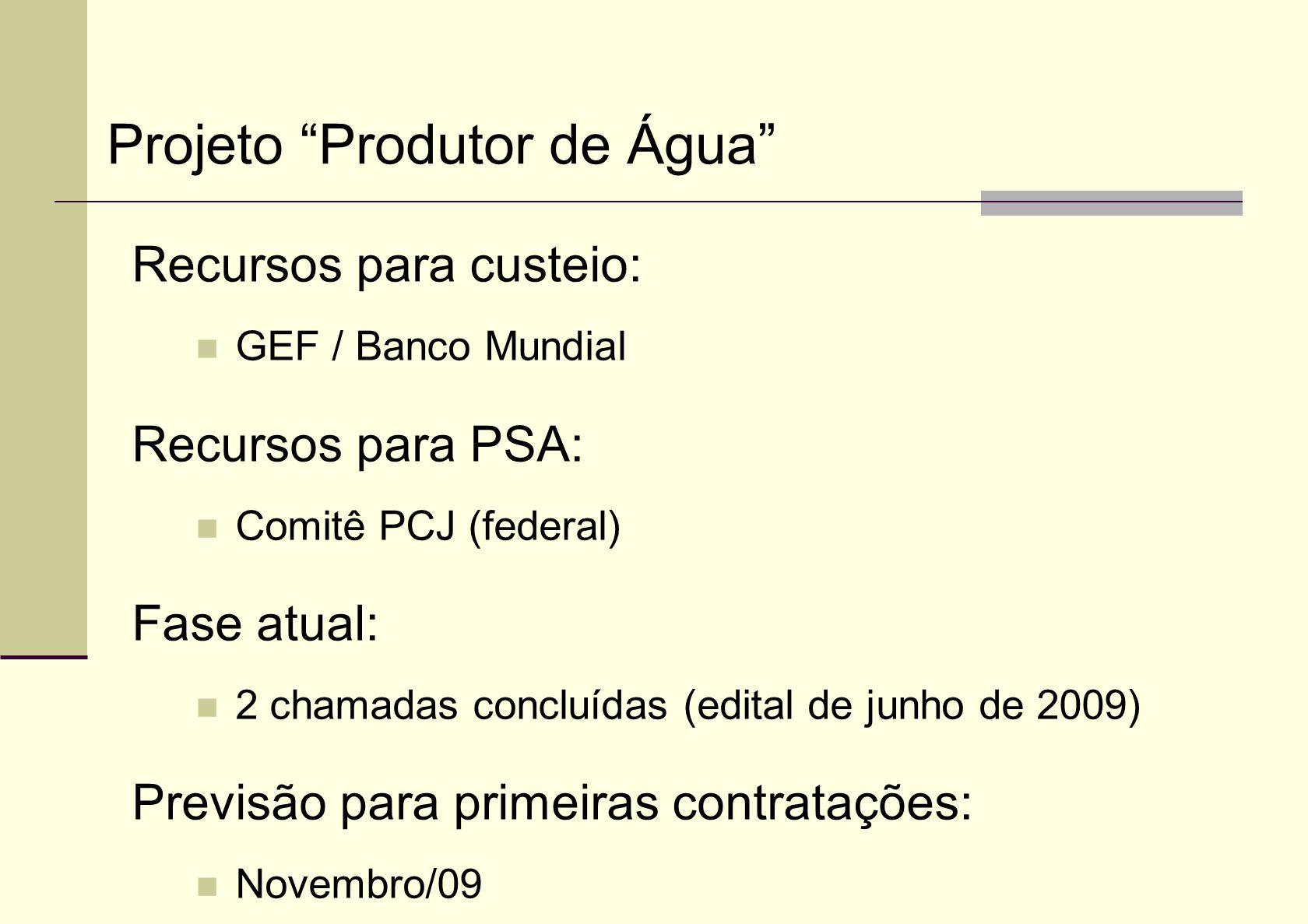 Recursos para custeio: GEF / Banco Mundial Recursos para PSA: Comitê PCJ (federal) Fase atual: 2 chamadas concluídas (edital de junho de 2009) Previsã